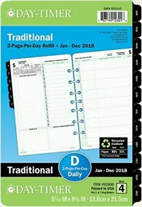 Day timer Daily Planner Refill 2019 Two Page Per Day Loose Leaf 5 1 2 X 8 1 2