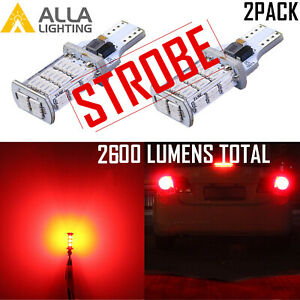 Alla Lighting 48 Led 921 Strobe Center High Stop Light Bulb 3rd Brake Back Up 2x