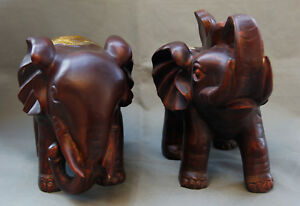 10 A Pair Antique Asian Old China Collection Bronze Gilt Elephant Statue