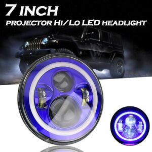 7 Led Headlight Blue Turn Signal Halo Angle Eyes For Jeep Wrangler Jk lj tj cj