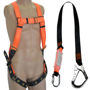Full Body Fall Protection Light Weight Safety Harness Internal Shock Lanyard