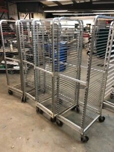 Lot Of 4 Rolling 18x26 Stainless Bakery Baking Cookie Sheet Pan Carts Racks