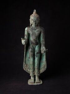 Late 19th Early 20th Century Antique Bronze Pagan Buddha Statue From Burma