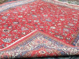 Antique Oriental Fine Hand Knotted Rug Large 9x12 Floral Red Actual 9 X 12 6