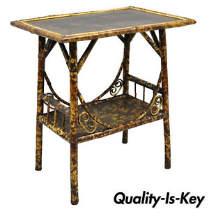 Antique English Victorian Burnt Bamboo Asian Plant Stand Side Table
