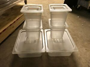 6 Cambro Clear Misc Sizes Stackable Food Storage Containers Bins Food W lids Nsf