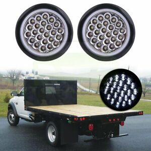 2x 4 Inch Round 24 Led Tail Light Reverse Backup Lamp White For Truck Trailer