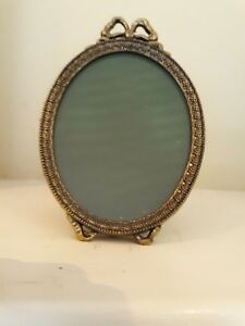 Antique Vintage Brass Oval Ornate Bow Topped Easel Footed Picture Frame Italy