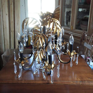 Vintage Italian Gold Gilt Chandelier Hollywood Regency Crystal Chandelier