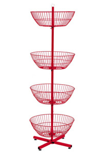 4 Basket Display Wire Floor Tier Spinner Rack Dump Bin Merchandising 45 Colors