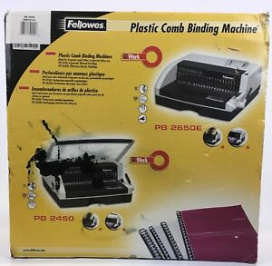 Fellowes Pb 2450 Spiral Manual Plastic Comb Binding Machine 500 Sheets