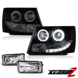 2007 14 Chevy Tahoe Suburban Projector Ccfl Halo Rim Headlights Driving Fog Lamp