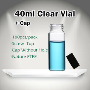 100pcs 40ml Tiny Small Clear Vials Glass Bottles With 24 400 Screw Cap 27 5 95mm