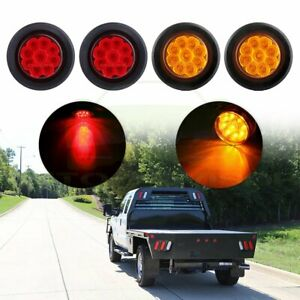 4x 2 Round 9led Red Amber Side Marker Tail Lights 4x Rubber Grommet For Trailer
