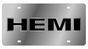 Hemi Mirror Polished 3d Finish Logo Stainless Steel License Plate