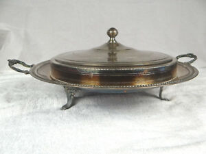 Vintage Antique French Silver Soup Vegetable Tureen Large 17 Silver Plate