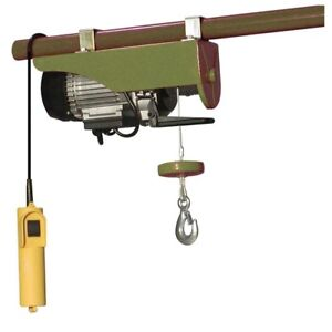 Electric Cable Hoist Wired Control Switch 440lb Single Phase Push Trolley Mount