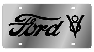 Ford V8 Mirror Polished 3d Finish Logo Stainless Steel License Plate