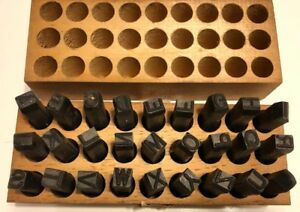 Vintage Young Bros 3 8 Steel Stamp Letter Set 27 Gruv Grip Tools In Wooden Box