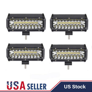 4pcs 7 inch 500w Cree Led Work Light Bar Flood Combo Pods Driving Offroad Truck
