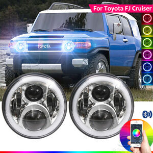 7 Rgb Halo Led Headlight Assembly Bluetooth App Control For Toyota Fj Cruiser