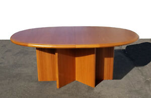 Vintage Danish Mid Century Modern Dining Table 2 Leaves Denmark Byansager Mobler