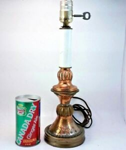 Vintage Hammered Copper Arts And Crafts Mission Candlestick Accent Table Lamp