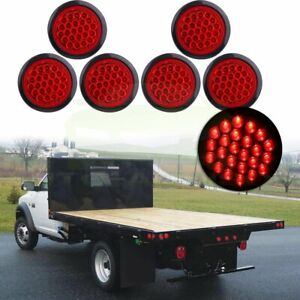 6pcs 4 Inch Round 24 Led Tail Light Reverse Backup Lamp Red For Truck Trailer