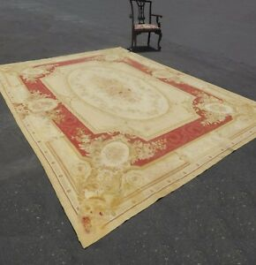 Large Vintage Hand Knotted Tan Floral Aubusson Tapestry Area Rug Made In France