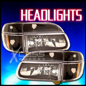 Fit 95 01 Explorer 97 Mercury Mountaineer Crystal Black Headlight