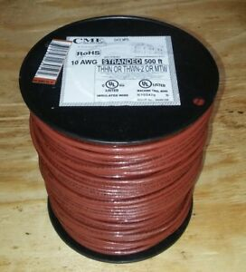 New 10 Stranded Thhn Brown Electrical Copper Wire 500 Ft 10 Gauge 10awg Spool