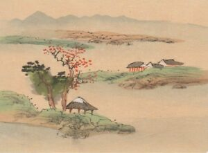 Hand Painted Japanese Miniature Ink Drawing With Pagoda On Rice Paper C 1930s