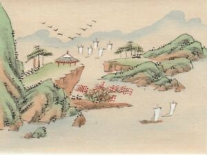 Hand Painted Japanese Miniature Ink Drawing W Pagoda Boats On Rice Paper C1930s