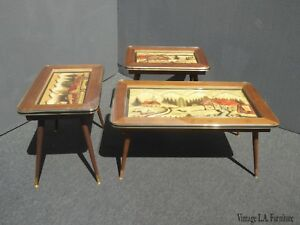 Vintage Mid Century Modern Hand Carved Coffee Table End Tables From Germany