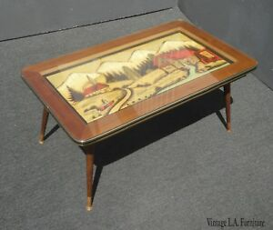 Vintage Mid Century Modern Hand Carved Hand Painted Coffee Table From Germany