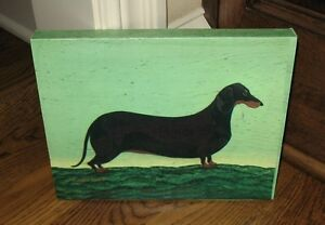 Black Dog Canvas Wall Shelf Picture Primitive French Country Decor Warren Kimble