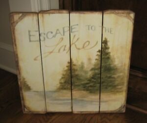 Lake Pine Evergreen Trees Wall Picture Primitive French Country Farmhouse Decor