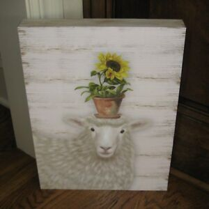 Lamb W Pot Of Sunflower Wood Picture Primitive French Country Farmhouse Decor
