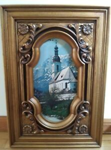 Vintage Ornate Gold Frame W Print Of Church St Sebastian Ramsau Alps 17 X 24