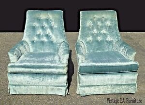 Pair Vintage Mid Century Modern Tufted Light Blue Velvet Swivel Arm Chairs