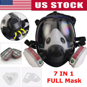 7 In 1 Full Face Gas Mask Facepiece Respirator Painting Spraying Set F 3m 6800