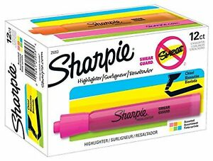 Sharpie 25053 Tank Highlighters Chisel Tip Assorted Colors 12 count