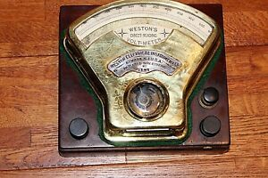 Museum Condition Antique Science Meter Weston Dc Amps Etching On Brass Mahogany