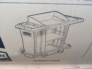 Rubbermaid Full Size Housekeeping Cart With Doors Grey 1969596
