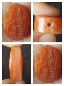 Very Rare Old Craved Roman Man On Hunting Postion Carnelian Intaglio Seal Bead