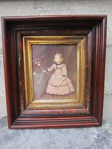 Early Old Eastlake Victorian Picture Frame Gold Leaf