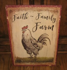 Wooden Farm Rooster Sign Picture Primitive French Country Urban Farmhouse Decor