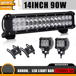 14inch 90w Cree Led Light Bar Work Lamp Spot Flood Beam 4wd With Wiring Harness