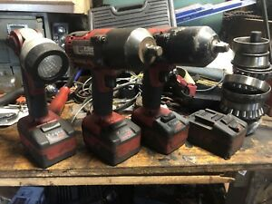 2 Snap on 18v 1 2 Cordless Impact Wrench With Charger 4 Batteries W Light