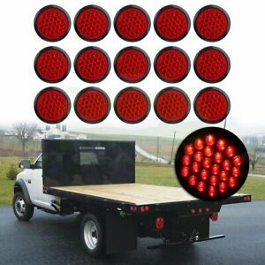 15 Tail Light Reverse Backup Lamp Red 4 Inch Round 24 Led For Truck Trailer